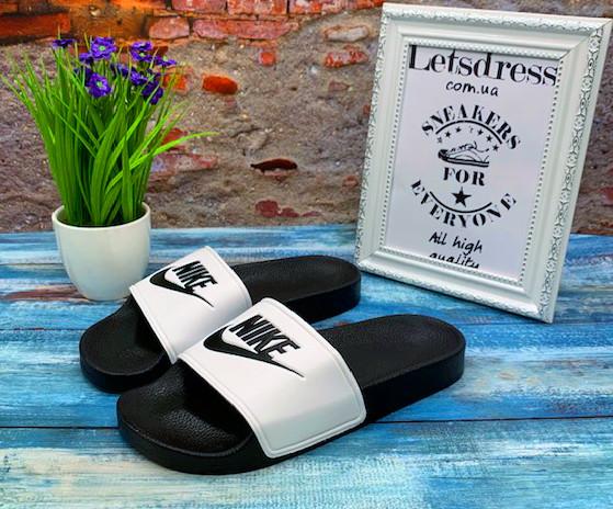 ✅ Женские шлепанцы Nike Slippers White Black Найк сланцы белые c черным