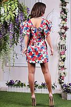"""Прямое джинсовое мини-платье в цветочек """"Диана"""" с рукавами воланами (3 цвета), фото 2"""