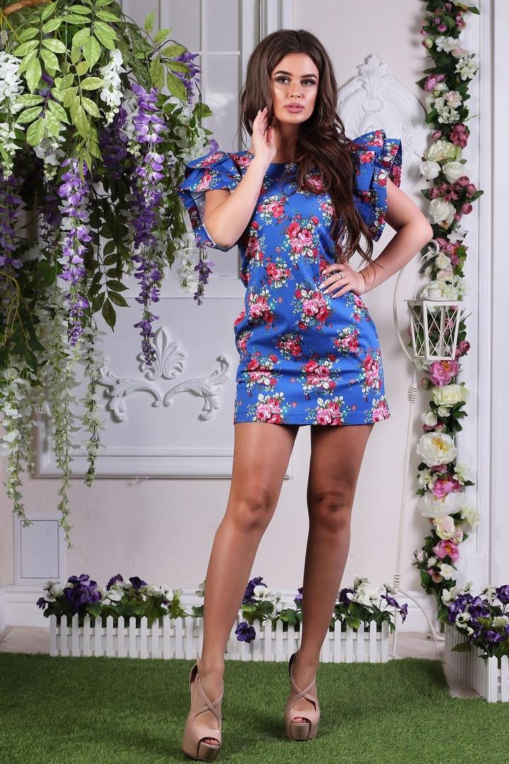 """Прямое джинсовое мини-платье в цветочек """"Диана"""" с рукавами воланами (3 цвета)"""