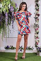 """Прямое джинсовое мини-платье в цветочек """"Диана"""" с рукавами воланами (3 цвета), фото 3"""