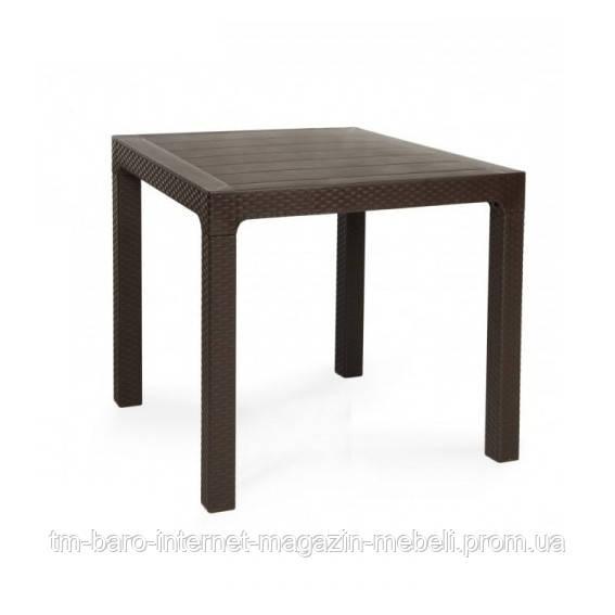 Стол Лагуна 80х80 пластик, ротанг коричневый
