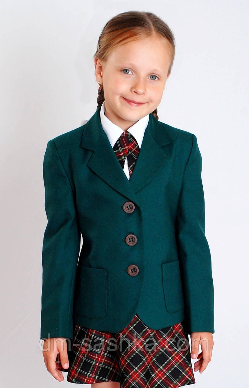 Жакет для девочки школьный зеленый