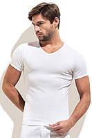 Однотонная футболка мысом белая рибана, фото 1