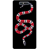 Силиконовый бампер чехол для ZTE Blade V8 с рисунком Змея Gucci