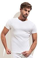Однотонная  футболка с круглым вырезом белая рибана, фото 1