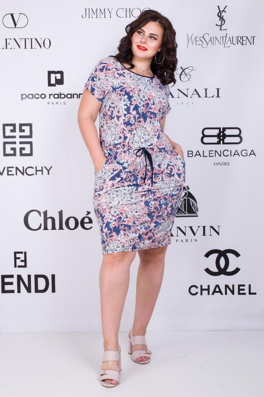 Батальное платье со шнурком 56