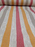 Льняная плотная ткань с разноцветными полосками (шир. 50 см), фото 1