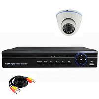Готовый комплект AHD видеонаблюдения 720P для самостоятельной установки с 1-й купольной камерой