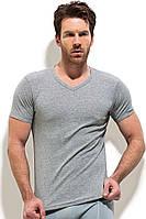 Однотонная футболка мысом серая рибана, фото 1