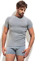 Однотонная  футболка с круглым вырезом серая рибана, фото 1