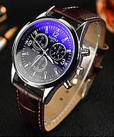 Мужские часы YAZOLE 271 кожаный ремешок (Чёрные с коричневым ремешком)