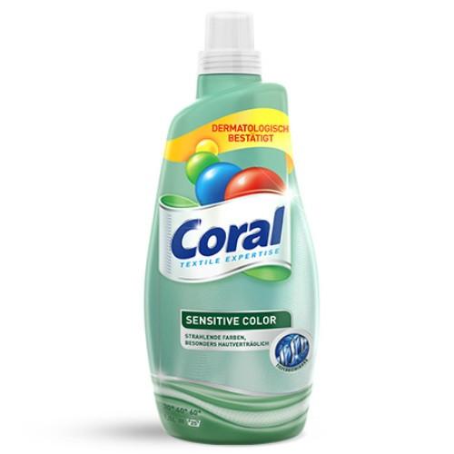 Гель для стирки Coral Sensetive Color для стирки цветного белья 20 стирок (1,5л)