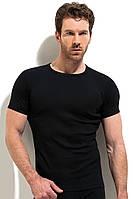 Однотонная  футболка с круглым вырезом черная рибана, фото 1