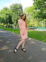 Тонкий сарафан на пуговицах в белую полоску. Цвет розовый, размер M, L. Китай.