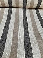 Льняная плотная ткань в полоску (шир. 50 см), фото 1