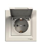 Розетка с заземлением и защитной крышкой крем EPH3100123 Schneider Electric Asfora