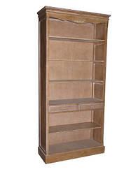 Открытый книжный шкаф коричневый на 6 полок и два выдвижных ящика в стиле Кантри(104*40*220см.).