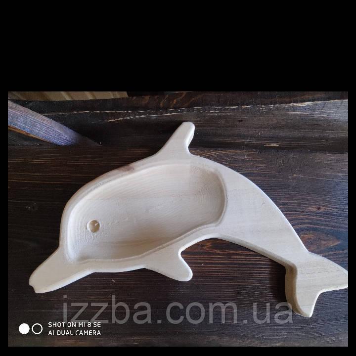 """Тарелка из дерева детская """"Дельфинчик"""""""