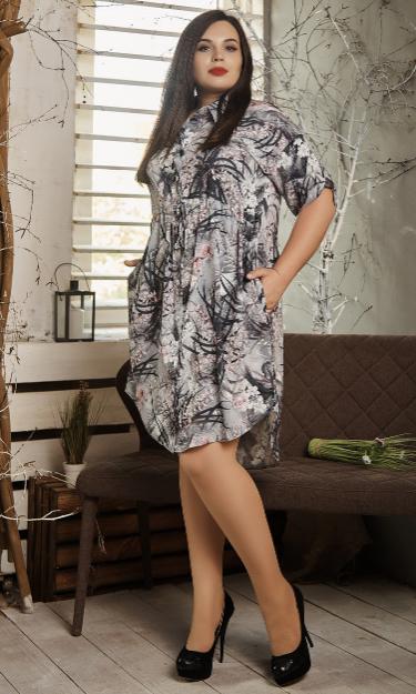 Платье- рубашка летнее большой размер серые листья