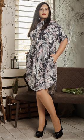 Платье- рубашка летнее большой размер серые листья, фото 2