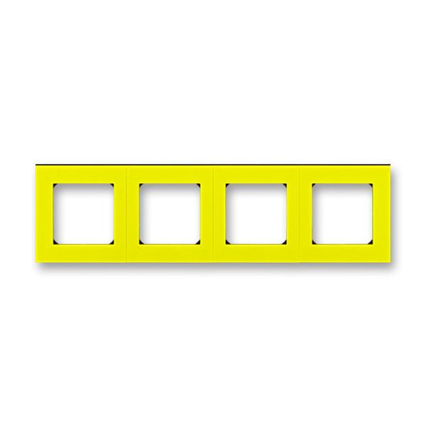 Рамка 4 постовая, желтый/дымчатый черный 3901H-A05040 64, Levit Elektro-Praga ABB