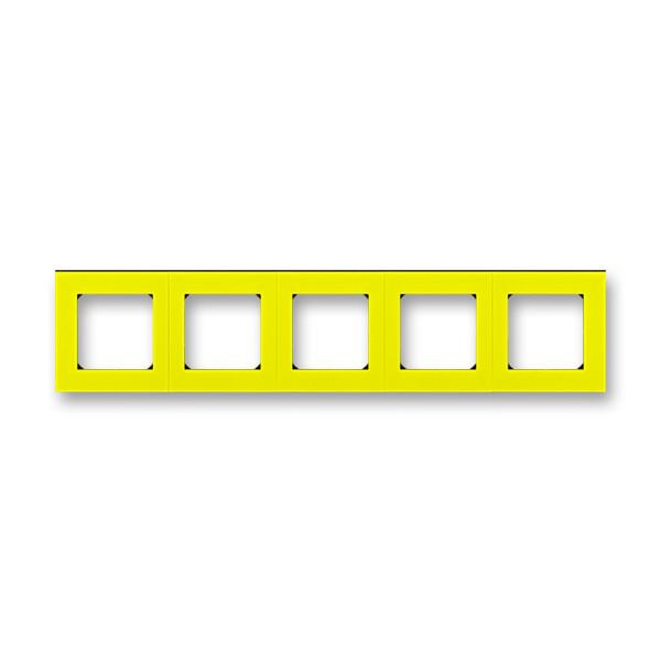 Рамка 5 постова, жовтий/димчастий чорний 3901H-A05050 64, Levit Elektro-Praga ABB