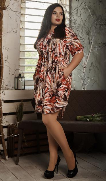Платье- рубашка летнее большой размер оранжевые листья