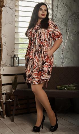 Платье- рубашка летнее большой размер оранжевые листья, фото 2