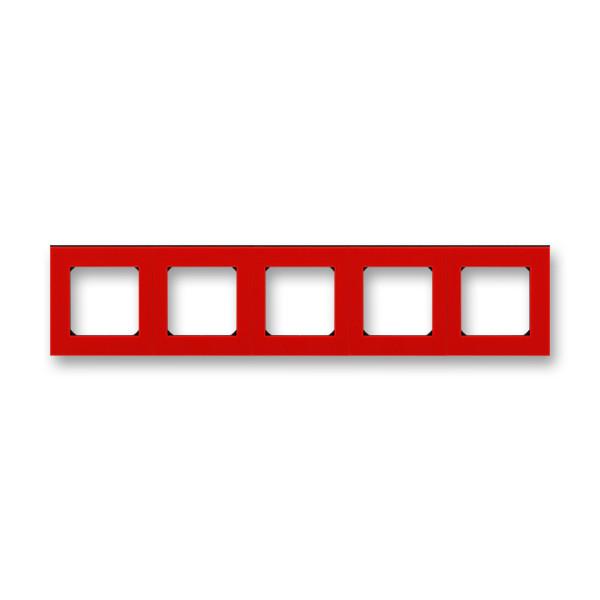 Рамка 5 постова, червоний/димчастий чорний 3901H-A05050 65, Levit Elektro-Praga ABB