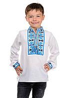 Вышиванка детская на мальчика белая в школу с длинным рукавом Козачек р-ры 122 - 152