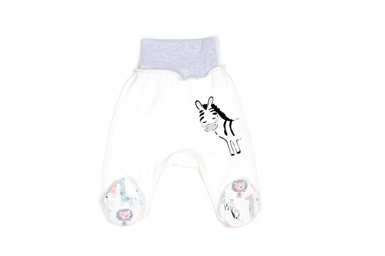 Ползунки для новорожденных Верес Crazy Zoo mint zebra интерлок молочный