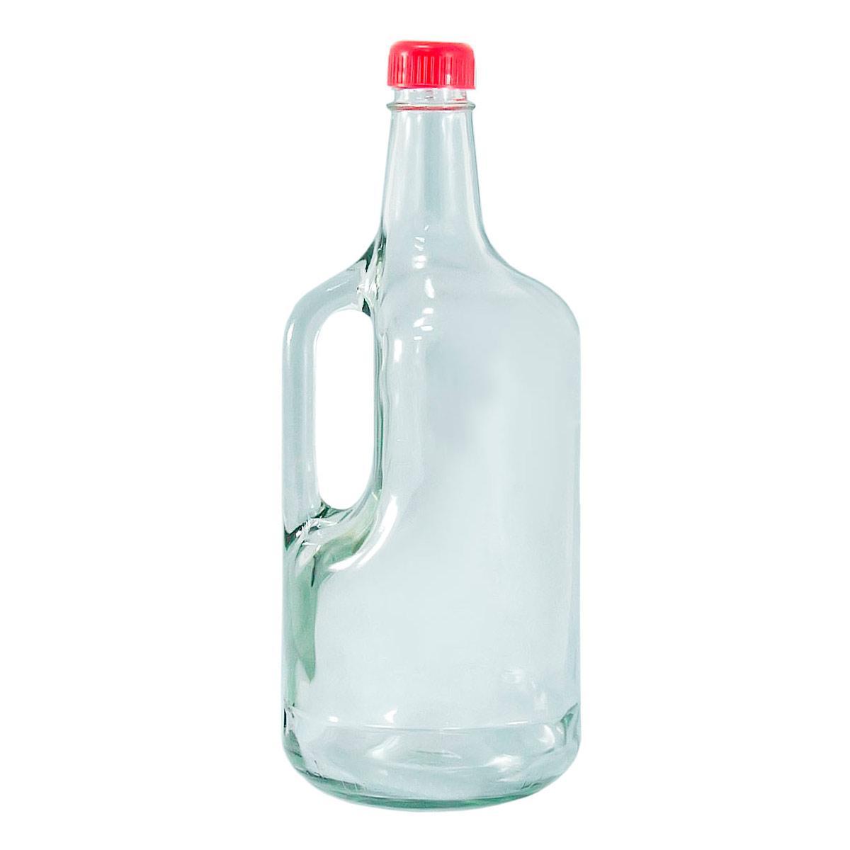 Бутылка стеклянная 1750 мл с ручкой и пластиковой крышкой с дозатором Everglass