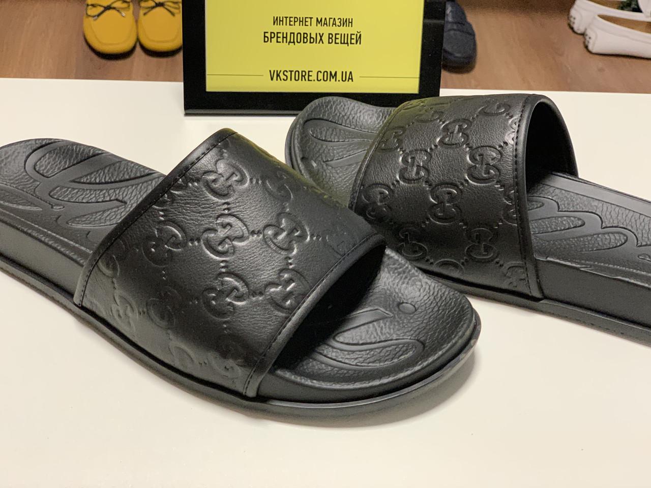 adfafc95 Черные шлепки Gucci - купить мужскую обувь Украина | vkstore.com.ua