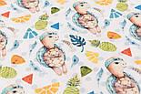"""Хлопок с цифровой печатью """"Черепашки и ананасы"""" на белом № 2276, фото 3"""