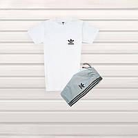 43b4f7f9 Мужской спортивный костюм Adidas шорты+футболка белый с серым (реплика)