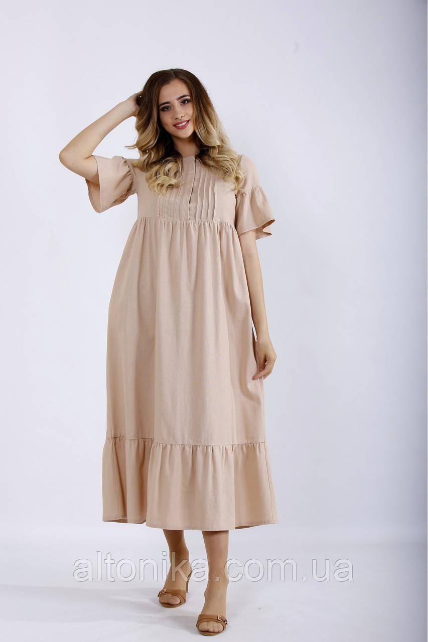 Летнее женское длинное платье из льна / 42-74