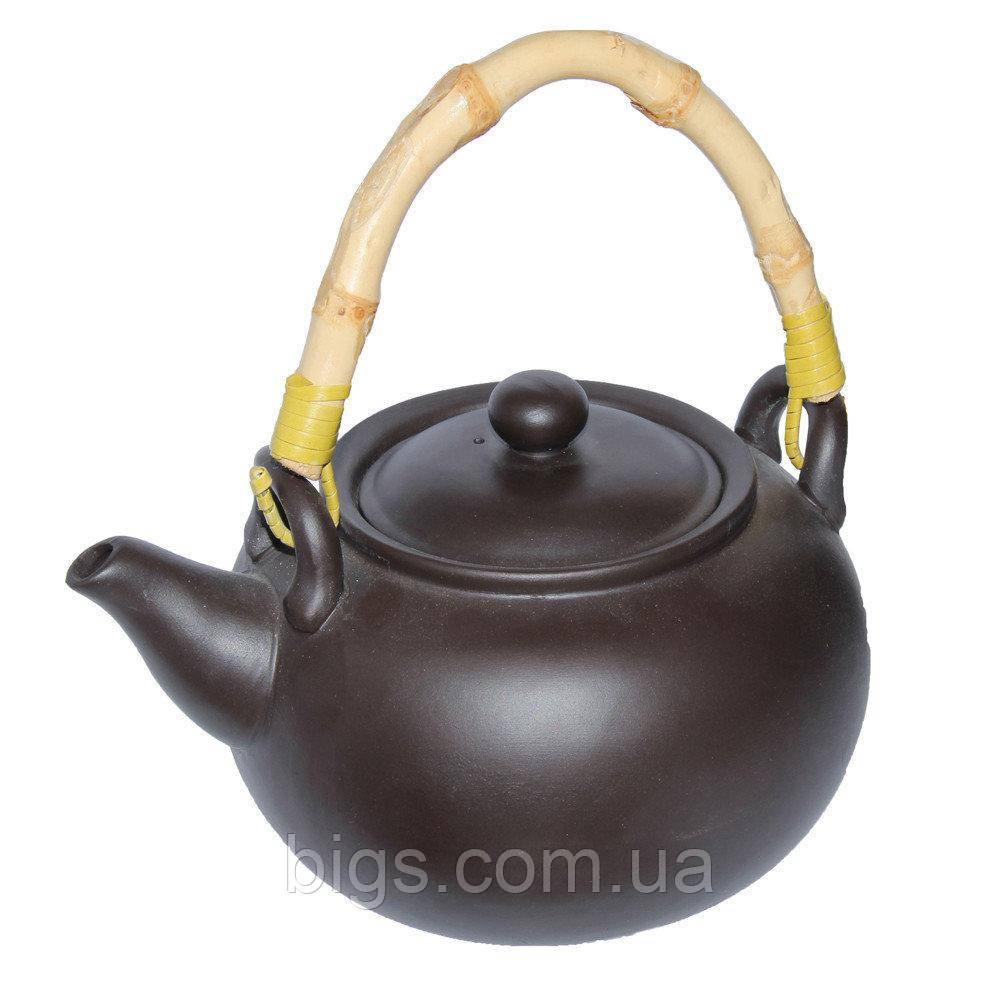 """Чайник глиняный с бамбуковой ручкой 950 мл """"Черное золото"""" ( заварочный чайник )"""