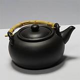 """Чайник глиняный с бамбуковой ручкой 950 мл """"Черное золото"""" ( заварочный чайник ), фото 2"""