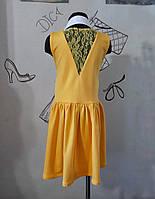 d5ef317c375439 Сарафан для дівчинки жовтий з гіпюровою спинкою бавовняний з поясом Сарафан  девочке с гипюром