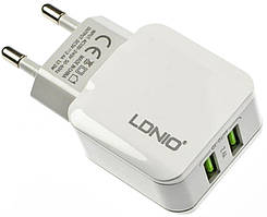 Сетевое зарядное устройство LDNIO A2202 Travel charger 2USB 2.4A White