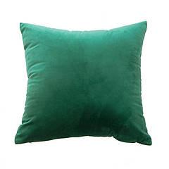 Однотонна декоративна наволочка з велюру зелена
