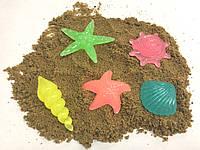 Комплект миниатюрных декораций для муравьиной фермы морские ракушки светящиеся в темноте (пластик, 5х4/2х2 см)