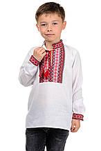 Вышиванка детская на мальчика белая в школу с длинным рукавом  р-ры 122 - 152
