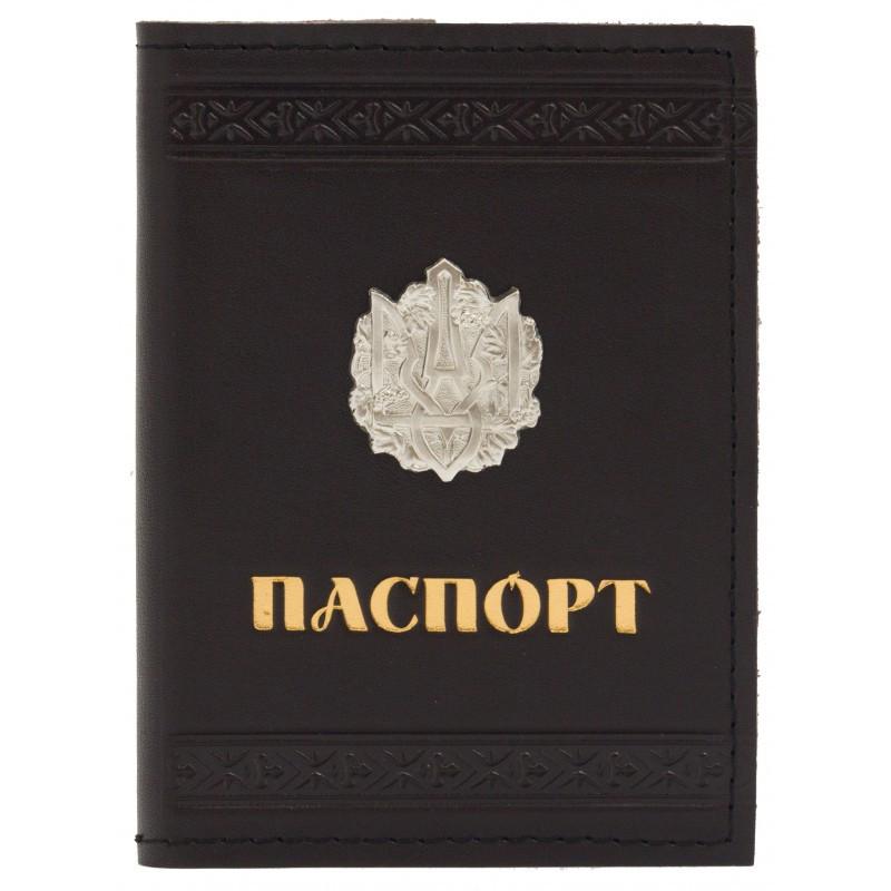 """Обложка на паспорт кожаная """"Трезубец"""""""