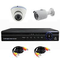Универсальный комплект AHD видеонаблюдения 720P для самостоятельной установки с 1-й купольной + 1 уличной кам.