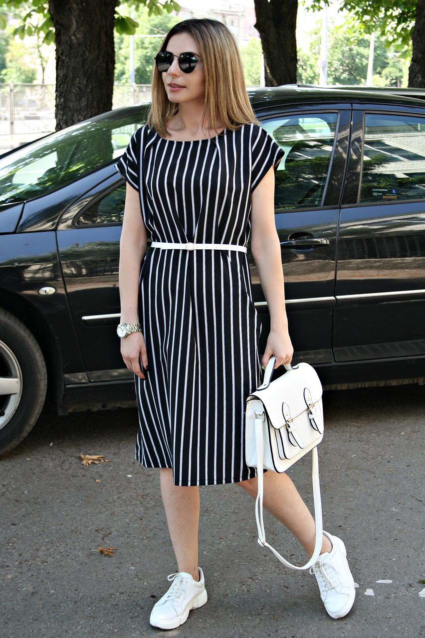 Платье большого размера Мадонна классика полоса