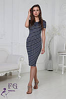 Летнее платье в полоску темно-синее 085