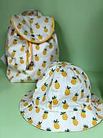 """Набор рюкзак + панама (размеры панамы 42-46, 46-50 и 50-54 см) """"Ананасы"""""""