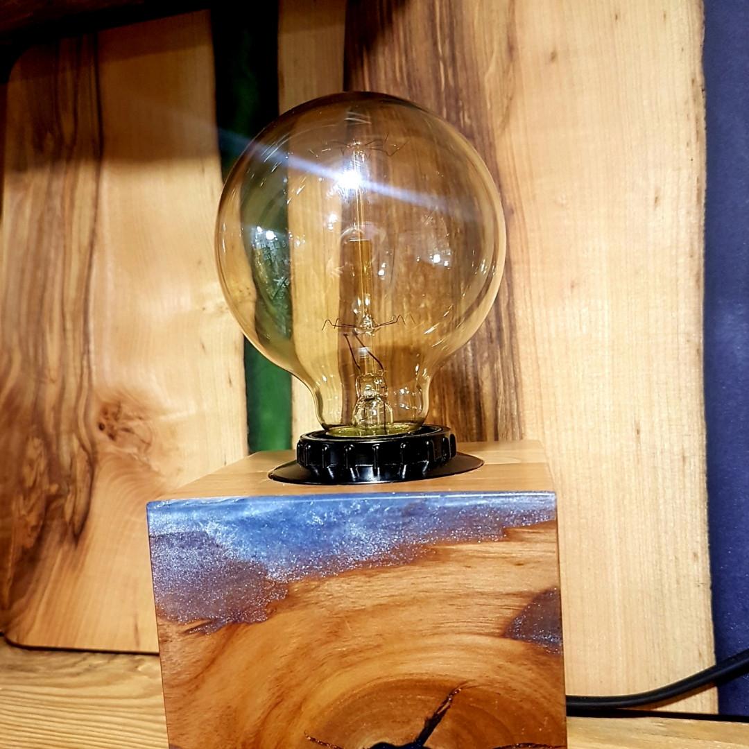 Ночник деревянный с лампой Эдисона круглая 2019 !