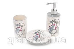 Набор для ванной керамический: диспенсер 375мл, мыльница, стакан 300мл